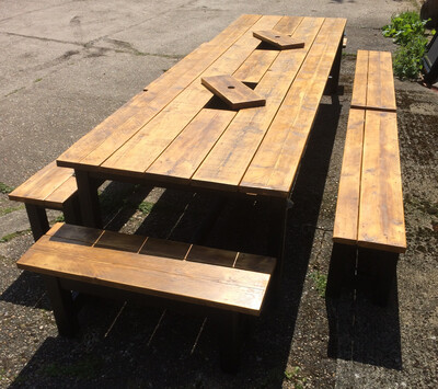 Prosecco Banqueting Patio Table, 4 Half Benches & 2 End Benches