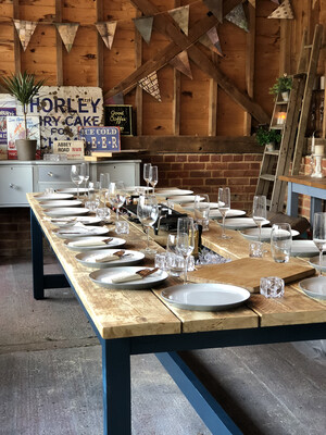 Prosecco Banqueting Dining Table & 2 Half Benches