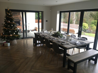 Prosecco Banqueting Dining Table, 4 Half Benches & 2 End Benches