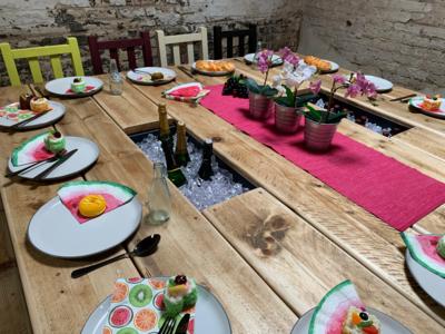 1.8m Square Prosecco Patio Table & 1 Bench