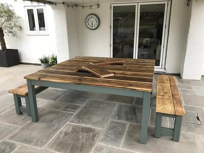 1.8m Square Prosecco Patio Table & 2 Benches