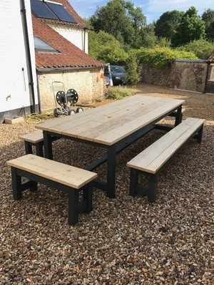Rustic Patio Table & 4 Benches