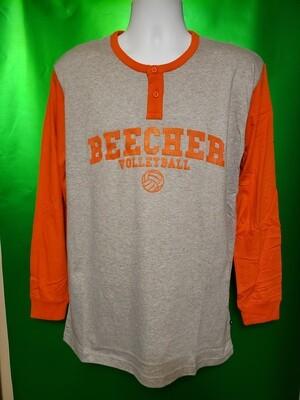 Adult 4XL Beecher Volleyball - Pennant Long Sleeve 2 Button Coach Shirt