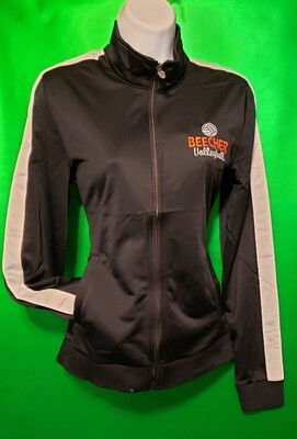 Tricot Striped Beecher Volleyball Jacket - Black with White Stripe and Embroidery