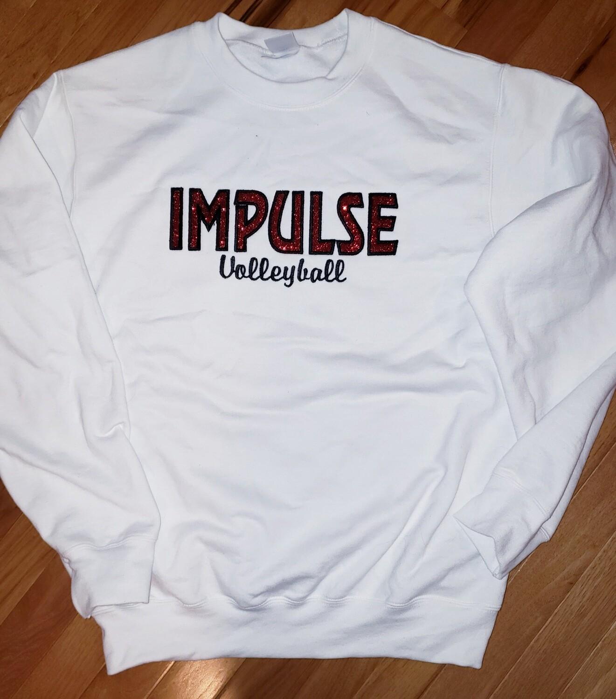 Impulse White Volleyball Glitter Applique Embroidery Crewneck
