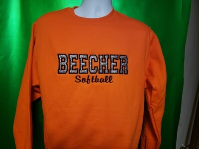 Beecher Softball Glitter Applique Embroidered Crew-neck
