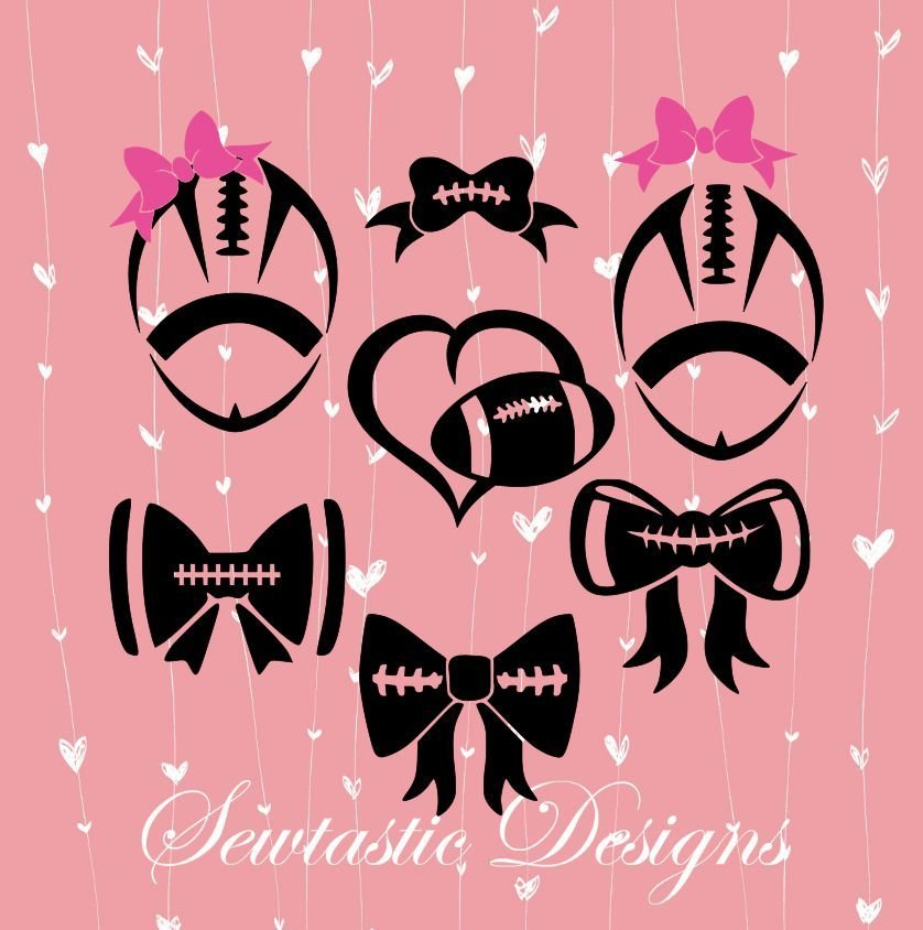 Football Svg Bows Svg Football Bows Svg Cut File Iron On Decal Cricut Silhouette Scanncut Many More
