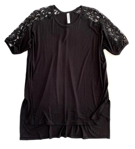 Black Lace Sleeved Hi-Low Tunic