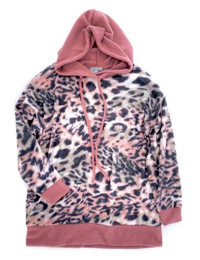 Mauve Leopard Print Hoodie
