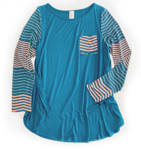 Subtly Striped Top in Teal