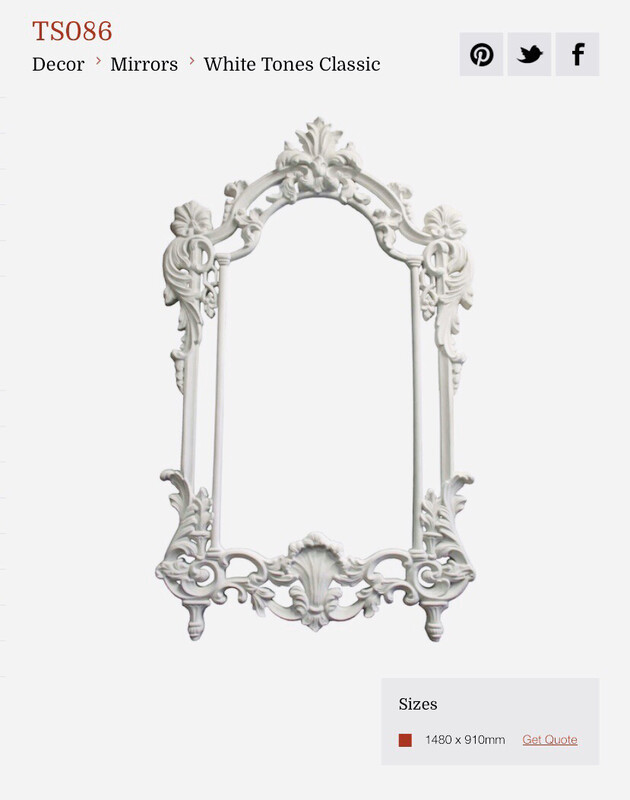 TS086 White Classical Ornate Mirror