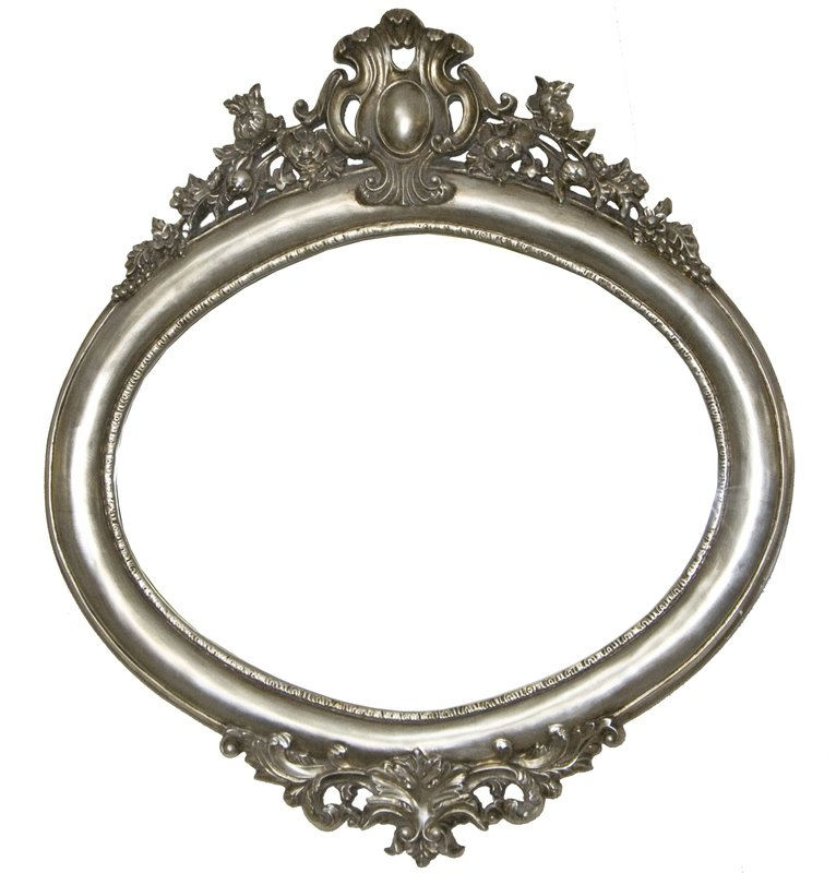 AF024 Oval classical silver mirror.