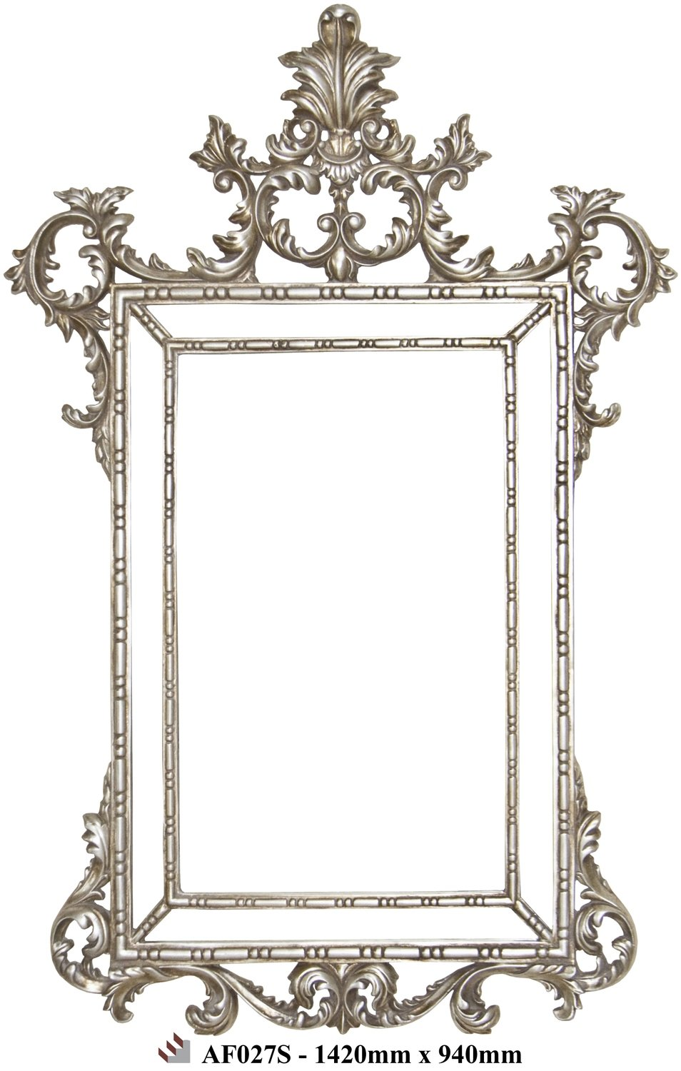 AF027 Silver ornate framed mirror
