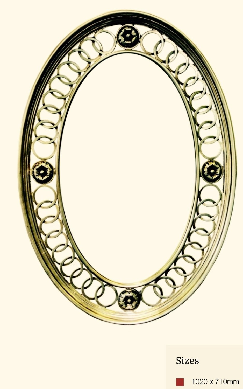 AF033 Oval antique silver mirror