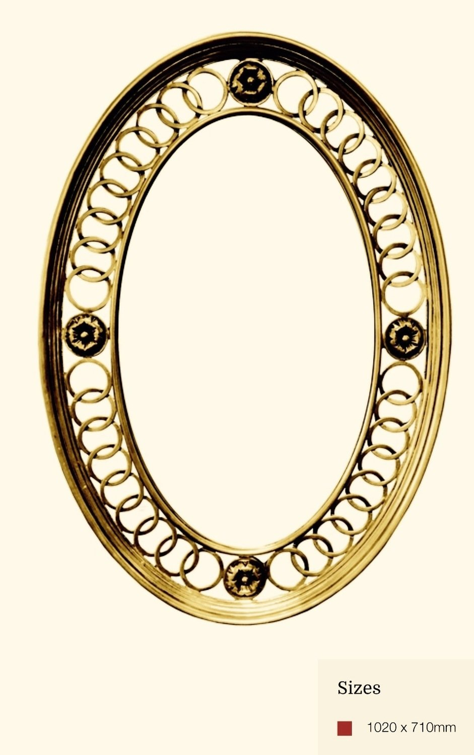 AF034 Oval detailed gold mirror