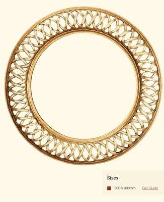 AF036 Round gold detailed framed mirror