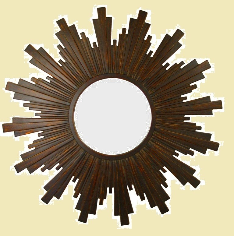 CF091 Sunburst mirror in dark brown surround.