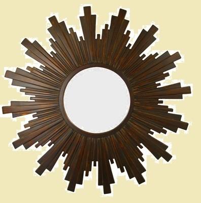 CF091 Sunburst mirror in dark brown surround.