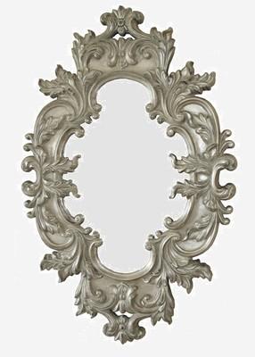 CFO83GS Oval ornate German Silver mirror