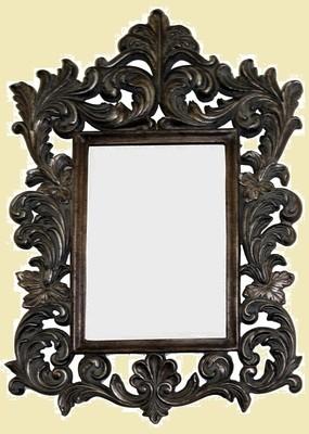CFO87 Ornate brown framed mirror