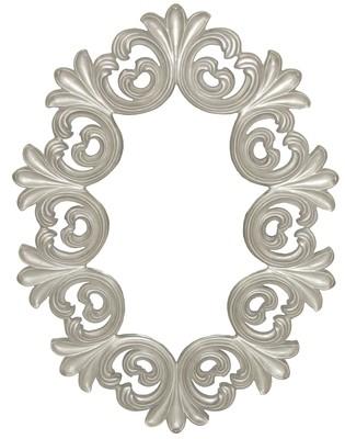 CFO82 Silver ornate round mirror