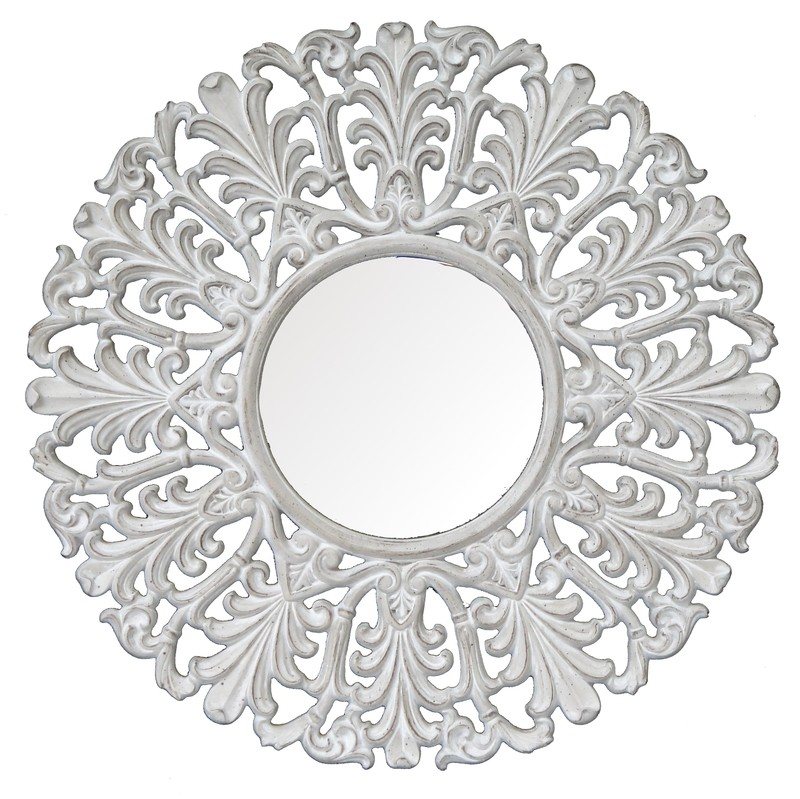 CFO68 Whitewashed round ornate mirror