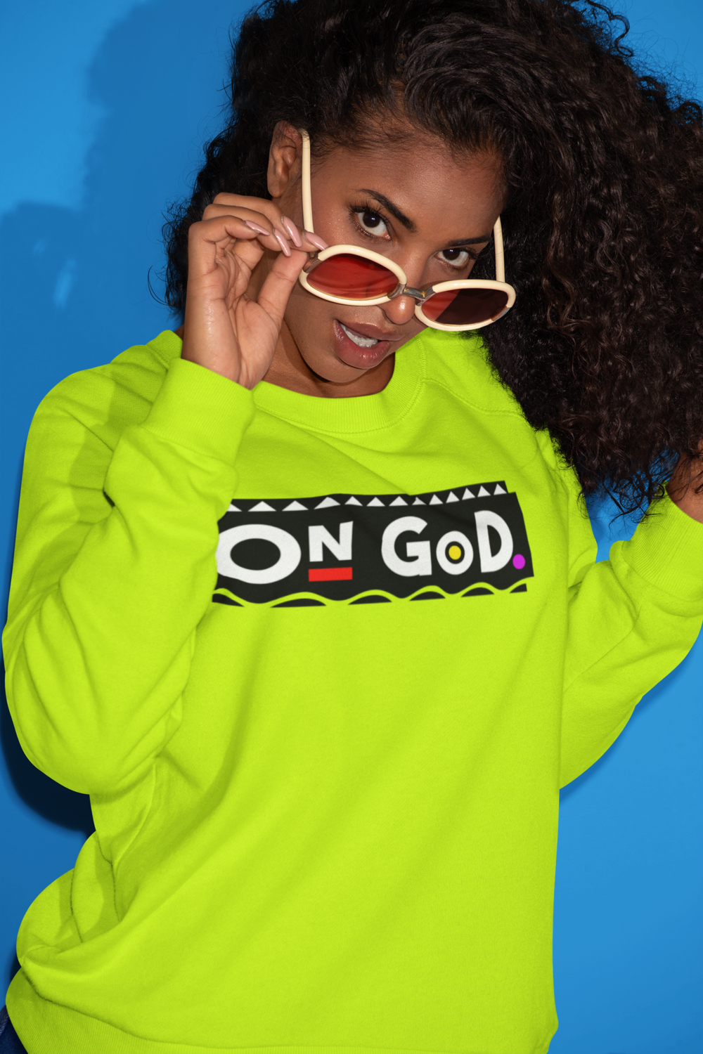 """VOLT YELLOW"" - On God 90's Color Block Sweater"