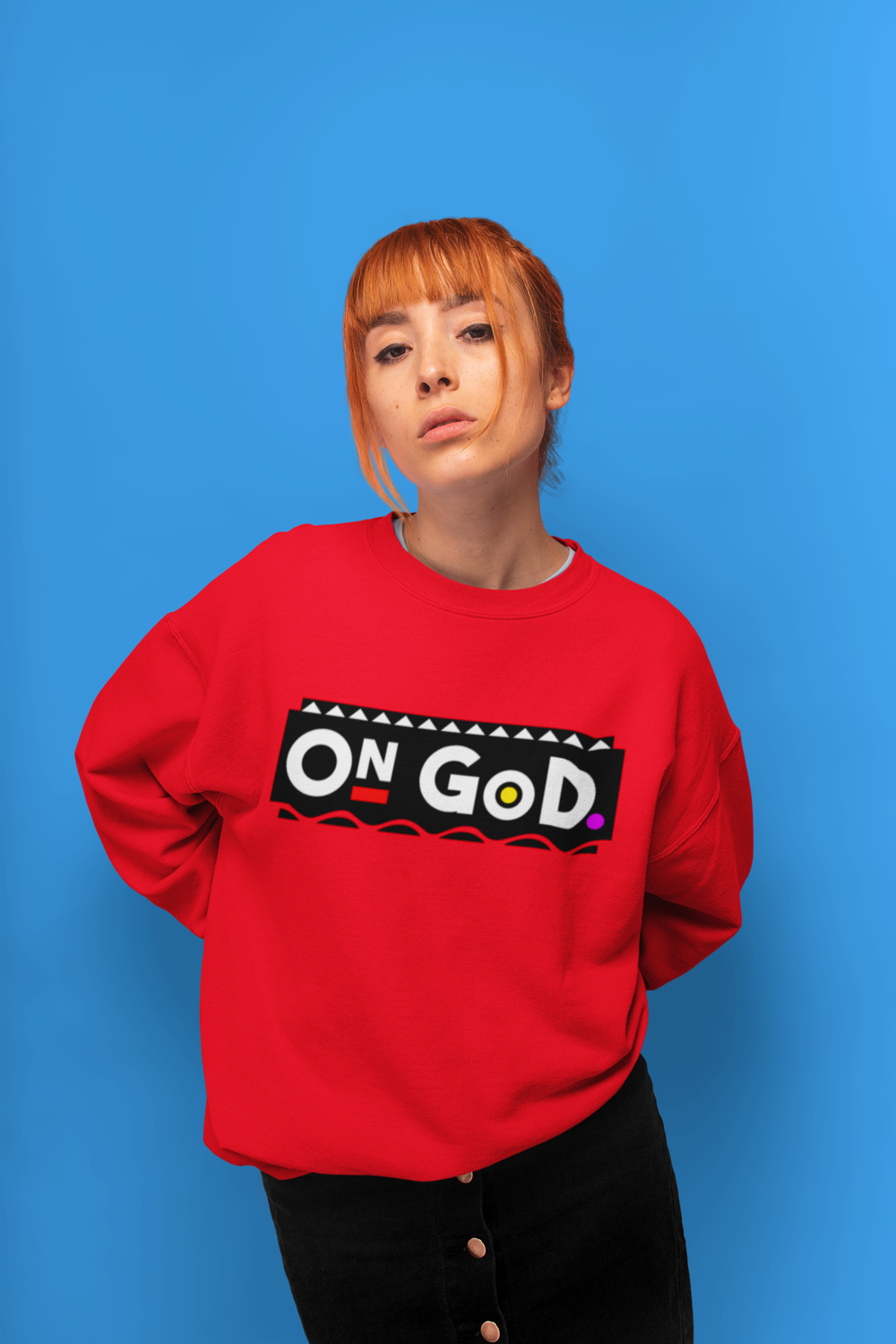"""""""RED"""" - On God 90's Color Block Sweater"""