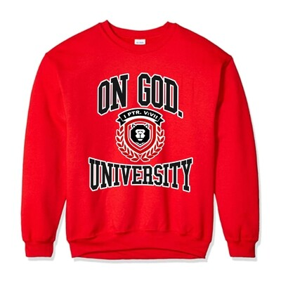 On God. University RED SWEATSHIRT