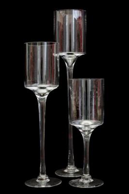 Stemmed Cylinder Vases 50cm H