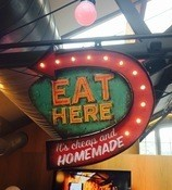 Eat Here - Metal Sign - Battery operated