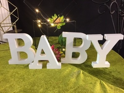 BABY White wooden letters