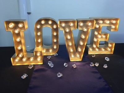 LOVE battery letters 25cm tall