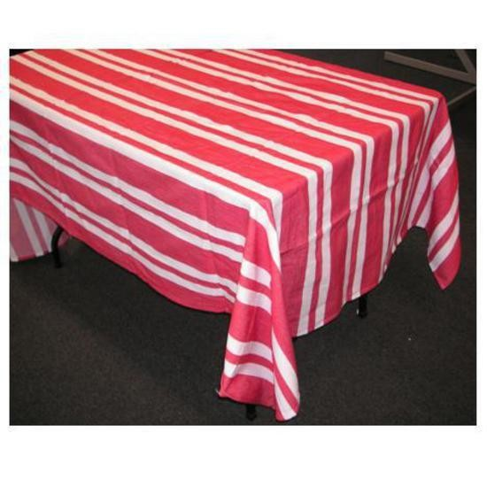 Tablecloths - Linen - White/Red stripe