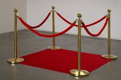 Stanchions - 2 Gold Posts, 1 Red Velvet Rope (Bollards)