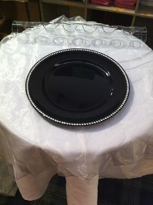 Charger Plate - Black with diamante