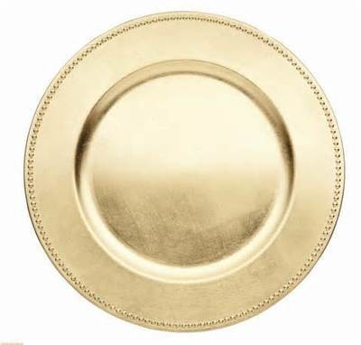 Charger Plate - Gold with beads