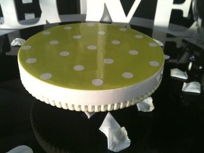 Cake Stand - Green Polka