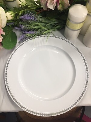 Charger Plate - White with diamante