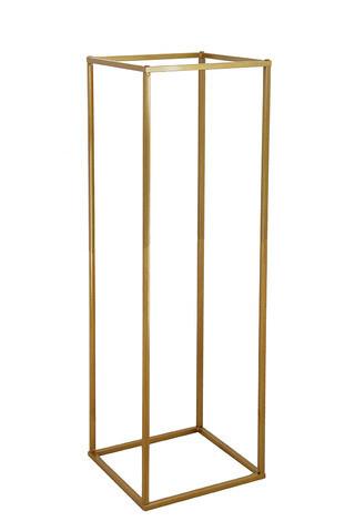 Flower pedestal - gold 60cm H 25cm square