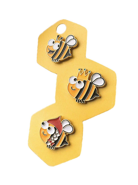 """Броши 3 шт """"Пчёлы: Bee, Queen Bee, Russian Bee"""""""