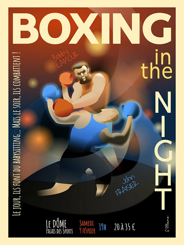 Boxing in the Night ! - Affiche illustration