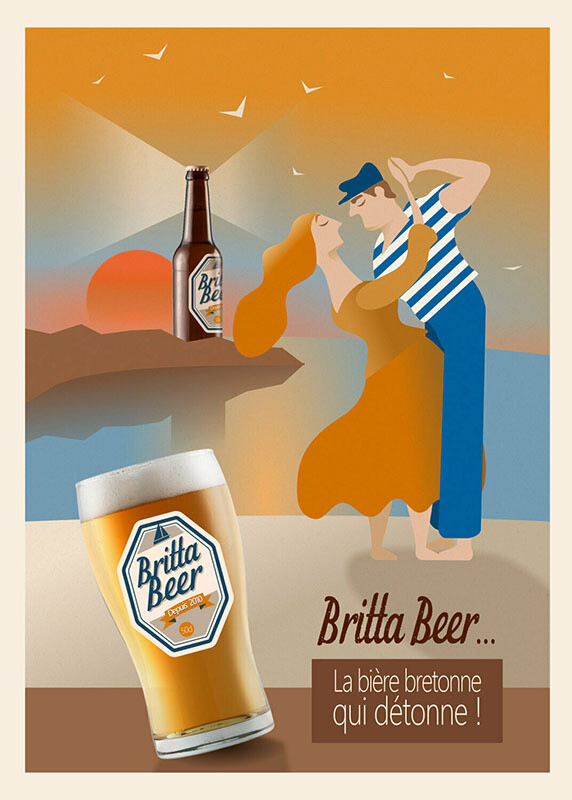 Danseurs Bretons - Affiche illustration