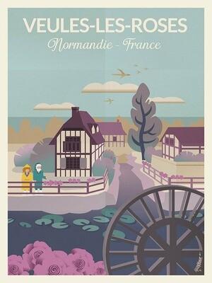 Veules-les-Roses - Affiche illustration