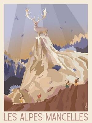 Les Alpes Mancelles - Affiche illustration