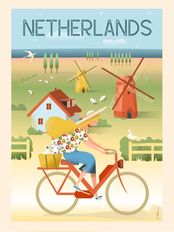 Netherlands by bike - Poster affiche illustration