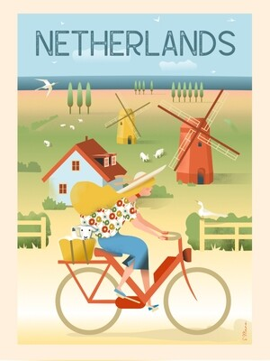 Netherlands by bike - Poster affiche illustration