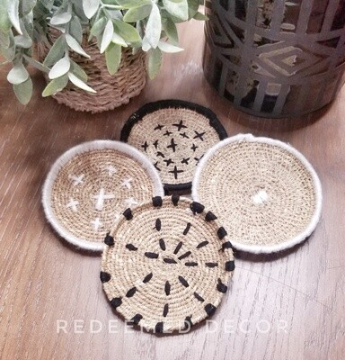 Boho Seagrass Coasters - Set of 4 with Bag
