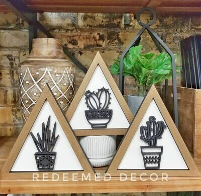 Set of 3 Boho Triangle Cactus Signs