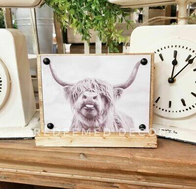Highland Cow Sitter Sign - Franklin